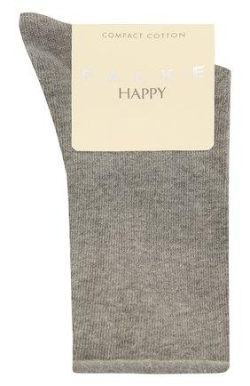 Женские хлопковые носки happy FALKE светло-серого цвета, арт. 46417   Фото 1