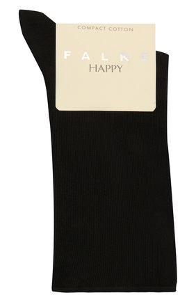 Женские хлопковые носки happy FALKE черного цвета, арт. 46417 | Фото 1
