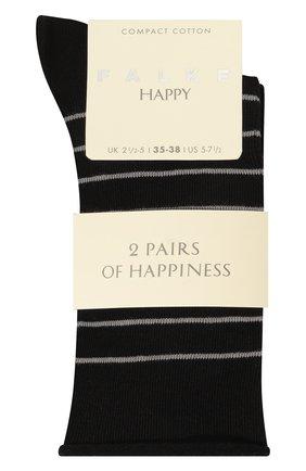 Женские хлопковые носки happy FALKE черного цвета, арт. 46419 | Фото 1