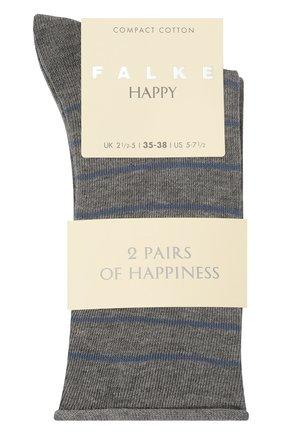 Женские хлопковые носки happy FALKE светло-серого цвета, арт. 46419 | Фото 1