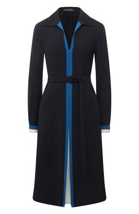 Женское шелковое платье LORO PIANA темно-синего цвета, арт. FAL5465 | Фото 1