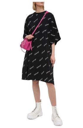 Женское хлопковое платье BALENCIAGA черного цвета, арт. 646221/TJVJ5 | Фото 2
