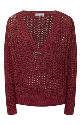 Женский хлопковый свитер BRUNELLO CUCINELLI бордового цвета, арт. M8E366902 | Фото 1