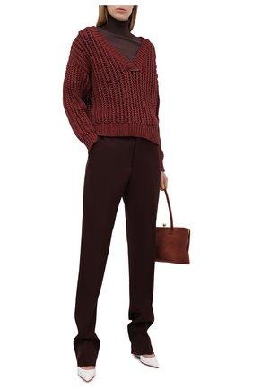 Женский хлопковый свитер BRUNELLO CUCINELLI бордового цвета, арт. M8E366902 | Фото 2