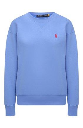 Женский хлопковый свитшот POLO RALPH LAUREN синего цвета, арт. 211780304 | Фото 1