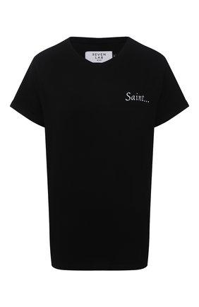 Женская хлопковая футболка SEVEN LAB черного цвета, арт. T20-S black | Фото 1