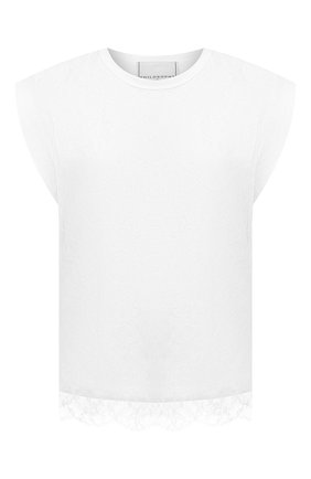Женский хлопковый топ PHILOSOPHY DI LORENZO SERAFINI белого цвета, арт. A0707/746 | Фото 1