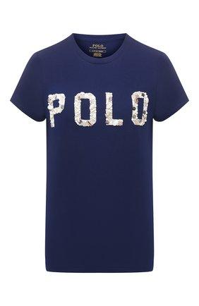 Женская хлопковая футболка POLO RALPH LAUREN синего цвета, арт. 211827661 | Фото 1