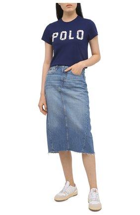 Женская хлопковая футболка POLO RALPH LAUREN синего цвета, арт. 211827661 | Фото 2