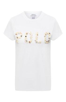 Женская хлопковая футболка POLO RALPH LAUREN белого цвета, арт. 211827661 | Фото 1