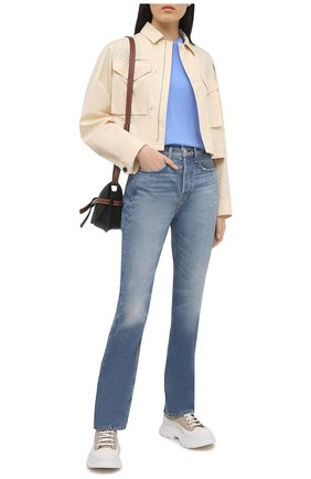 Женская хлопковая футболка POLO RALPH LAUREN синего цвета, арт. 211734144 | Фото 2