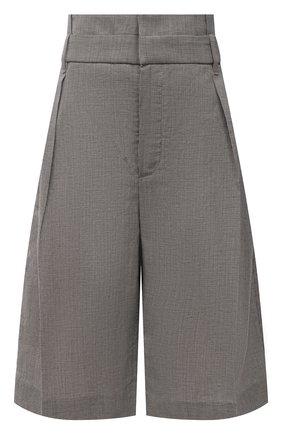 Женские шорты из шерсти и льна BRUNELLO CUCINELLI серого цвета, арт. MH513P7593 | Фото 1