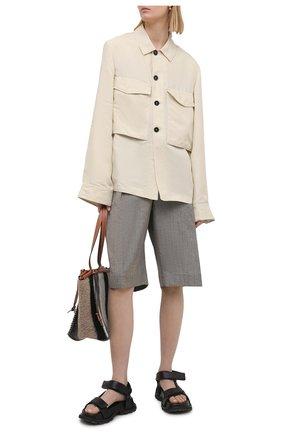 Женские шорты из шерсти и льна BRUNELLO CUCINELLI серого цвета, арт. MH513P7593 | Фото 2