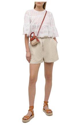 Женские шорты из хлопка и льна ISABEL MARANT ETOILE кремвого цвета, арт. SH0366-21P004E/PARANA | Фото 2
