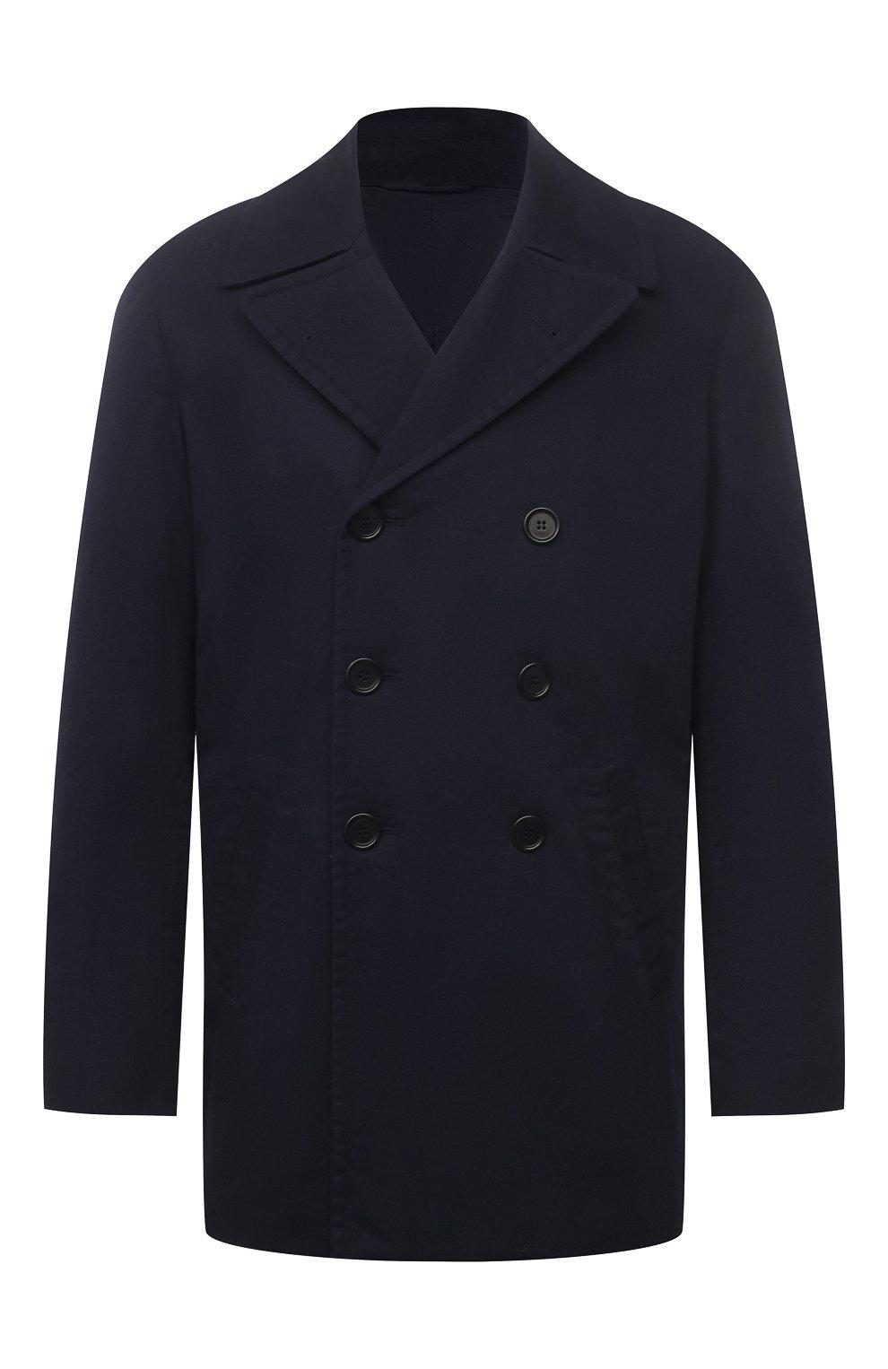 Мужской хлопковое пальто ASPESI синего цвета, арт. S1 A CG35 E794   Фото 1 (Рукава: Длинные; Материал внешний: Хлопок; Материал подклада: Синтетический материал; Длина (верхняя одежда): Короткие; Мужское Кросс-КТ: пальто-верхняя одежда; Стили: Кэжуэл)