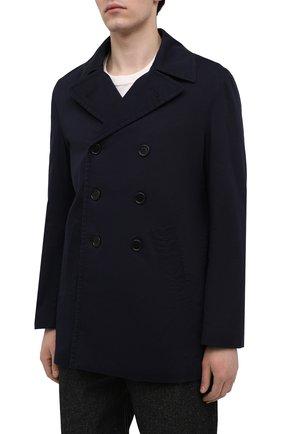 Мужской хлопковое пальто ASPESI синего цвета, арт. S1 A CG35 E794   Фото 3 (Рукава: Длинные; Материал внешний: Хлопок; Материал подклада: Синтетический материал; Длина (верхняя одежда): Короткие; Мужское Кросс-КТ: пальто-верхняя одежда; Стили: Кэжуэл)