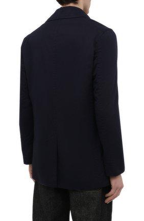 Мужской хлопковое пальто ASPESI синего цвета, арт. S1 A CG35 E794   Фото 4 (Рукава: Длинные; Материал внешний: Хлопок; Материал подклада: Синтетический материал; Длина (верхняя одежда): Короткие; Мужское Кросс-КТ: пальто-верхняя одежда; Стили: Кэжуэл)
