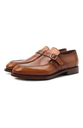 Мужские кожаные монки SANTONI светло-коричневого цвета, арт. MCC017500MC4HNGWM46 | Фото 1 (Материал внутренний: Натуральная кожа; Стили: Классический)