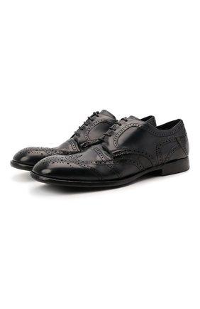 Мужские кожаные дерби michelangelo DOLCE & GABBANA темно-синего цвета, арт. A10665/A1828   Фото 1 (Материал внутренний: Натуральная кожа; Стили: Классический; Мужское Кросс-КТ: Броги-обувь)