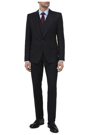 Мужские кожаные дерби michelangelo DOLCE & GABBANA темно-синего цвета, арт. A10665/A1828   Фото 2 (Материал внутренний: Натуральная кожа; Стили: Классический; Мужское Кросс-КТ: Броги-обувь)