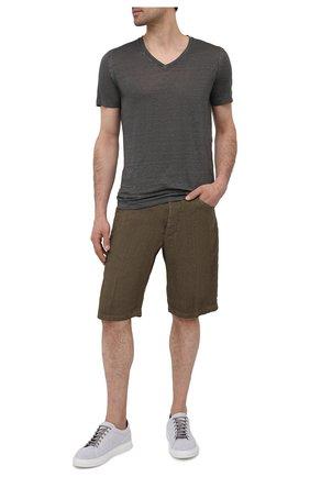 Мужские льняные шорты 120% LINO хаки цвета, арт. T0M2120/0253/S00 | Фото 2