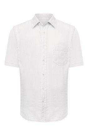 Мужская льняная рубашка 120% LINO белого цвета, арт. T0M1368/0115/000 | Фото 1 (Длина (для топов): Стандартные; Рукава: Короткие; Материал внешний: Лен; Стили: Кэжуэл; Принт: Однотонные; Воротник: Кент; Случай: Повседневный)