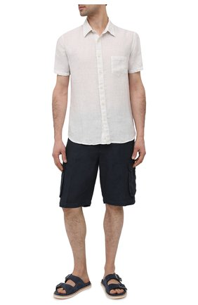 Мужская льняная рубашка 120% LINO белого цвета, арт. T0M1368/0115/000 | Фото 2 (Длина (для топов): Стандартные; Рукава: Короткие; Материал внешний: Лен; Стили: Кэжуэл; Принт: Однотонные; Воротник: Кент; Случай: Повседневный)