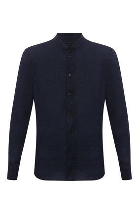 Мужская льняная рубашка 120% LINO темно-синего цвета, арт. T0M1159/B317/000   Фото 1 (Материал внешний: Лен; Длина (для топов): Стандартные; Рукава: Длинные; Принт: Однотонные; Случай: Повседневный; Манжеты: На пуговицах; Стили: Кэжуэл; Воротник: Мандарин)