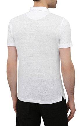 Мужское льняное поло 120% LINO белого цвета, арт. T0M7282/E908/S00 | Фото 4 (Застежка: Пуговицы; Рукава: Короткие; Длина (для топов): Стандартные; Кросс-КТ: Трикотаж; Материал внешний: Лен; Стили: Кэжуэл)