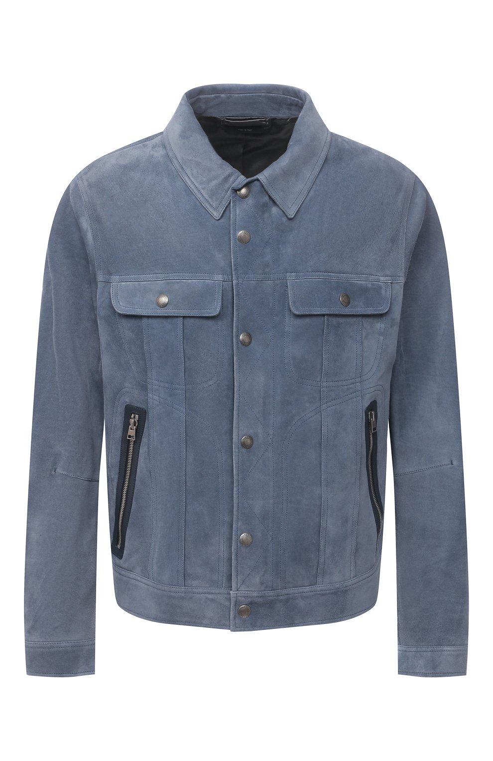 Мужская замшевая куртка TOM FORD синего цвета, арт. BW417/TFL852 | Фото 1