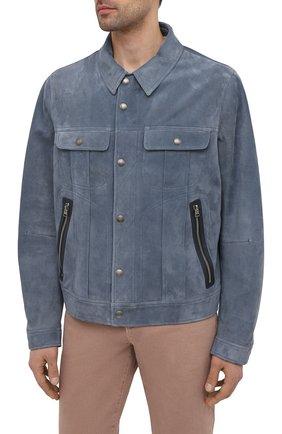 Мужская замшевая куртка TOM FORD синего цвета, арт. BW417/TFL852 | Фото 3