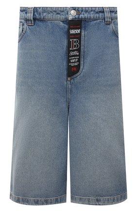 Мужские джинсовые шорты BALENCIAGA голубого цвета, арт. 641464/TDW15 | Фото 1 (Материал внешний: Хлопок; Длина Шорты М: Ниже колена; Кросс-КТ: Деним; Стили: Гранж; Принт: Без принта)