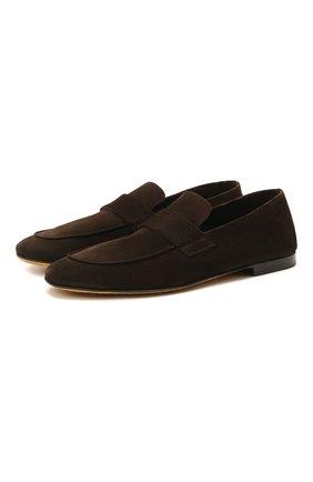 Мужские замшевые лоферы OFFICINE CREATIVE темно-коричневого цвета, арт. AIRT0/001/GUYA | Фото 1 (Мужское Кросс-КТ: Лоферы-обувь; Материал внутренний: Натуральная кожа; Материал внешний: Замша; Стили: Кэжуэл)