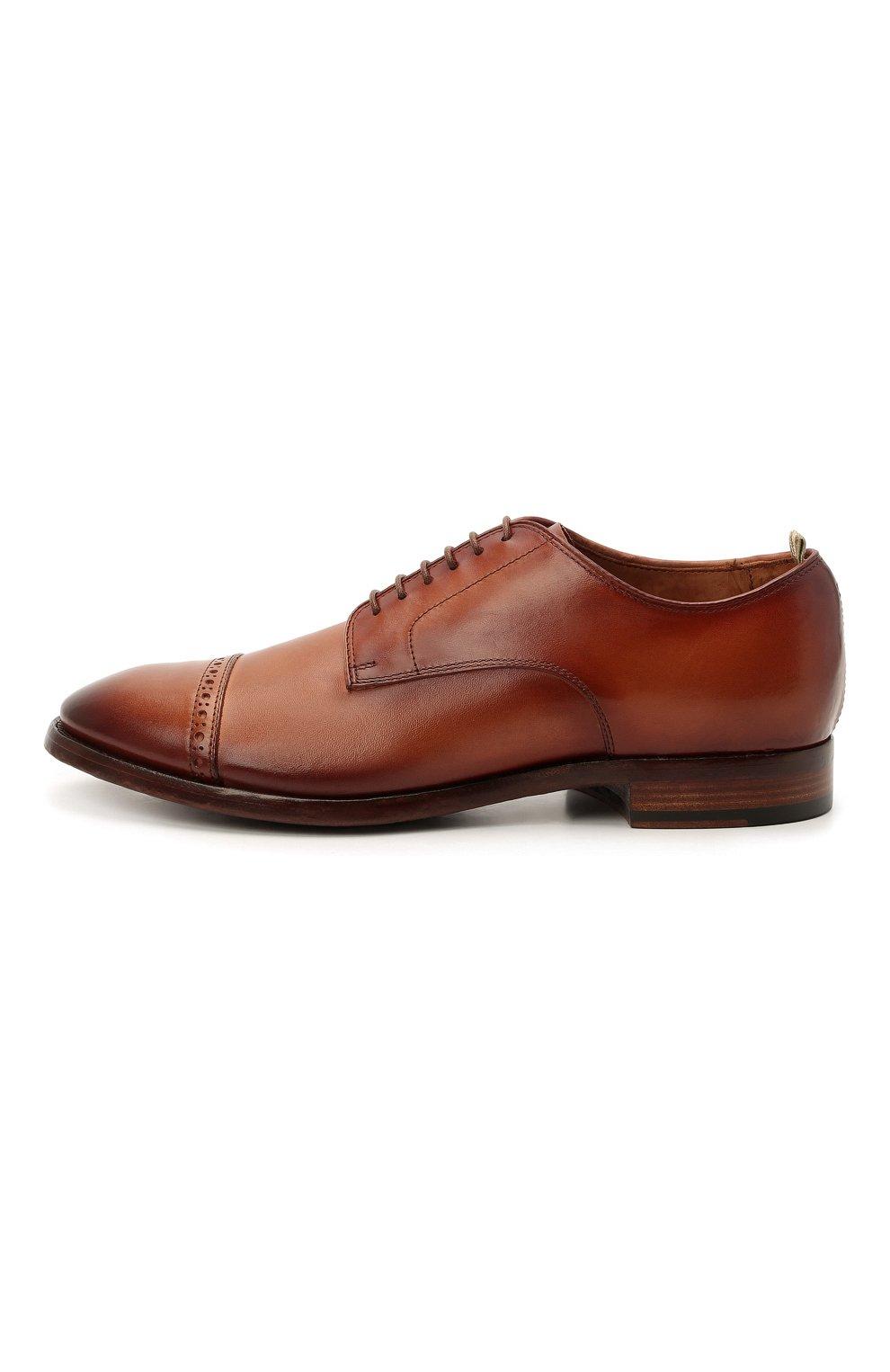 Мужские кожаные дерби OFFICINE CREATIVE коричневого цвета, арт. PR0VIDENCE/013/AER0 CANY0N   Фото 3 (Мужское Кросс-КТ: Броги-обувь; Материал внутренний: Натуральная кожа; Стили: Классический)