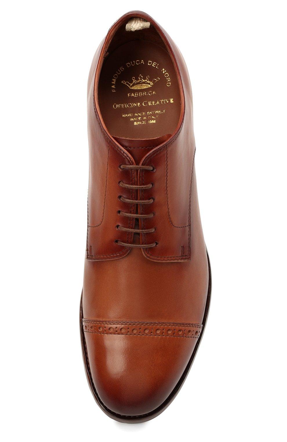 Мужские кожаные дерби OFFICINE CREATIVE коричневого цвета, арт. PR0VIDENCE/013/AER0 CANY0N   Фото 5 (Мужское Кросс-КТ: Броги-обувь; Материал внутренний: Натуральная кожа; Стили: Классический)