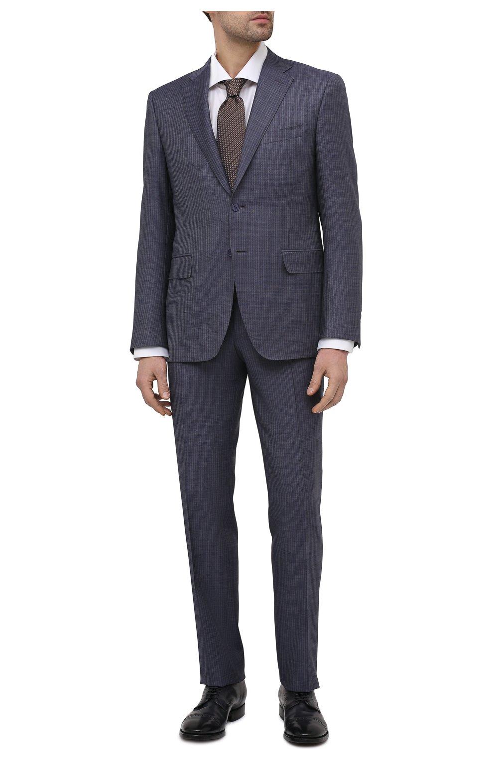 Мужские кожаные дерби OFFICINE CREATIVE темно-синего цвета, арт. PR0VIDENCE/013/AER0 CANY0N | Фото 2 (Мужское Кросс-КТ: Броги-обувь; Материал внутренний: Натуральная кожа; Стили: Классический)