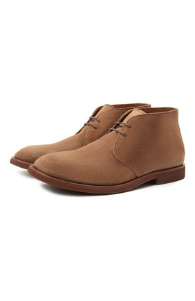 Мужские замшевые ботинки BRUNELLO CUCINELLI коричневого цвета, арт. MZUPLHE801 | Фото 1 (Материал внутренний: Натуральная кожа; Подошва: Плоская; Мужское Кросс-КТ: Дезерты-обувь, Ботинки-обувь; Материал внешний: Замша)