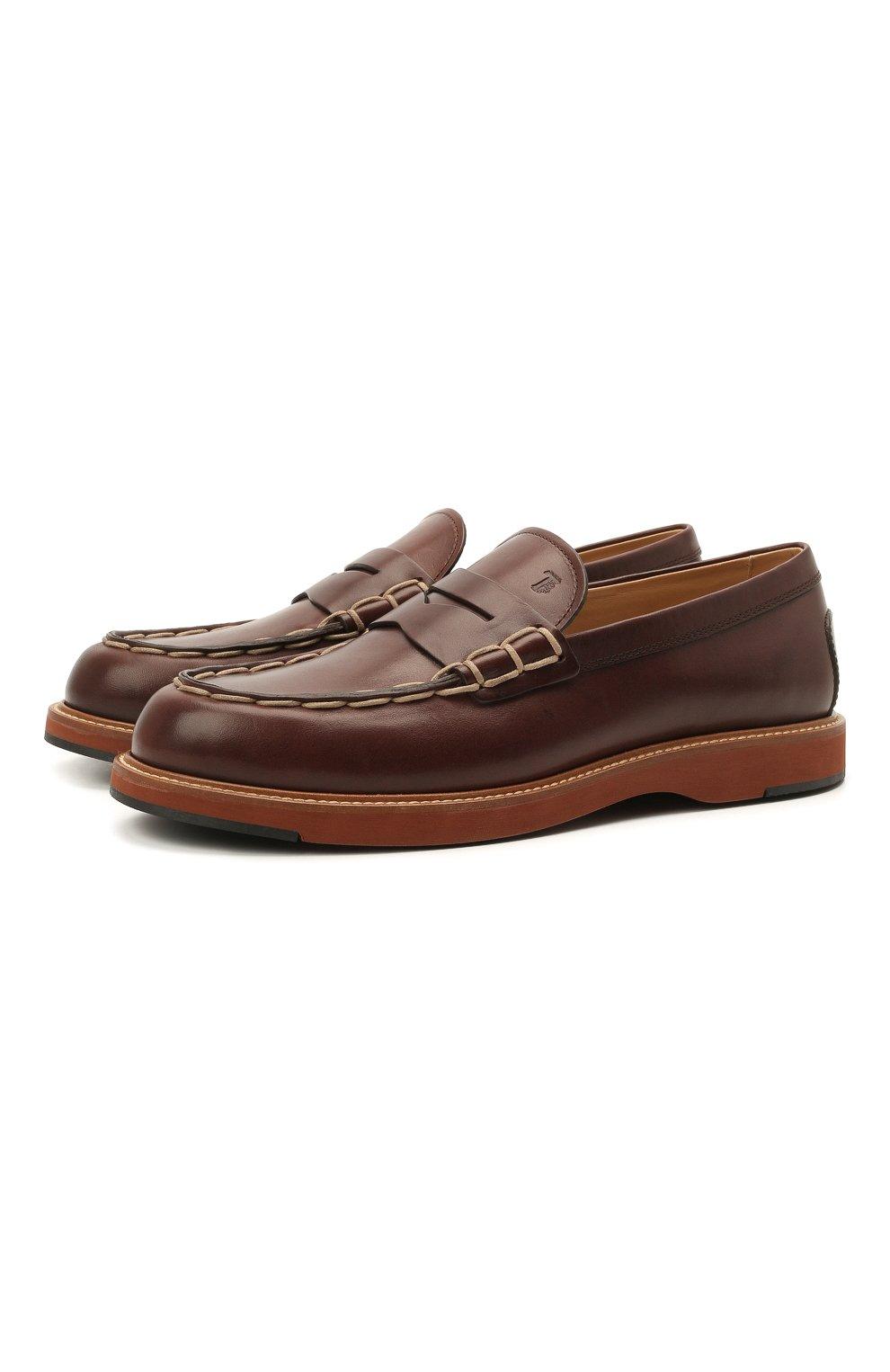 Мужские кожаные пенни-лоферы TOD'S коричневого цвета, арт. XXM05E0EB60NHV   Фото 1 (Мужское Кросс-КТ: Лоферы-обувь; Материал внутренний: Натуральная кожа; Стили: Кэжуэл)