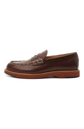 Мужские кожаные пенни-лоферы TOD'S коричневого цвета, арт. XXM05E0EB60NHV   Фото 3 (Мужское Кросс-КТ: Лоферы-обувь; Материал внутренний: Натуральная кожа; Стили: Кэжуэл)