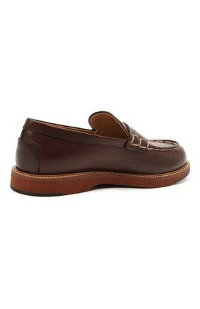 Мужские кожаные пенни-лоферы TOD'S коричневого цвета, арт. XXM05E0EB60NHV   Фото 4 (Мужское Кросс-КТ: Лоферы-обувь; Материал внутренний: Натуральная кожа; Стили: Кэжуэл)