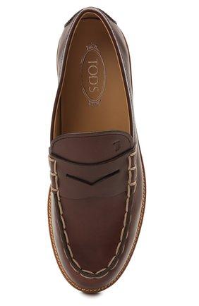 Мужские кожаные пенни-лоферы TOD'S коричневого цвета, арт. XXM05E0EB60NHV   Фото 5 (Мужское Кросс-КТ: Лоферы-обувь; Материал внутренний: Натуральная кожа; Стили: Кэжуэл)