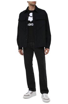 Мужская льняная футболка ISABEL MARANT черно-белого цвета, арт. TS0427-00M002H/KARMAN | Фото 2