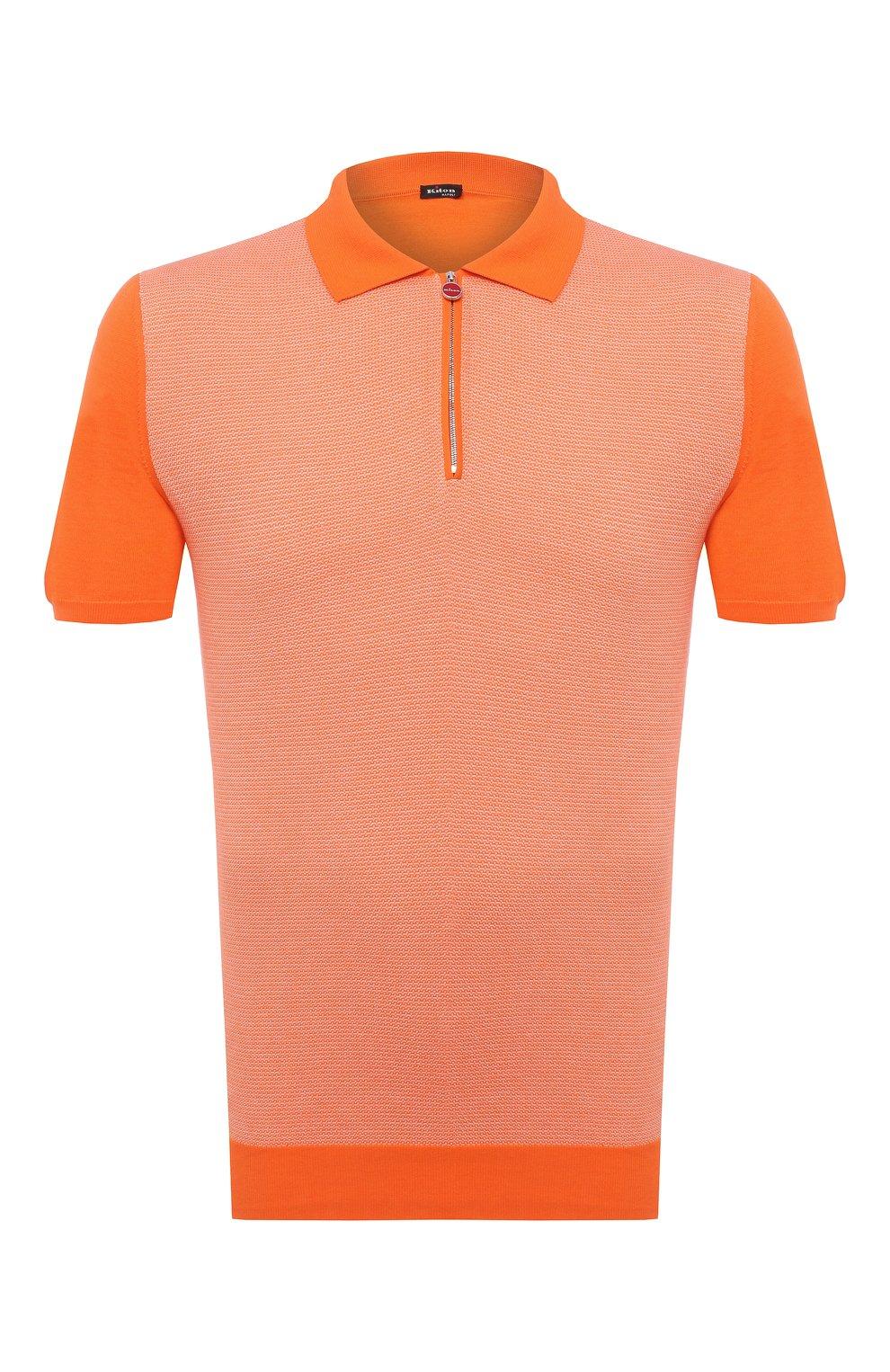 Мужское хлопковое поло KITON оранжевого цвета, арт. UK1253   Фото 1