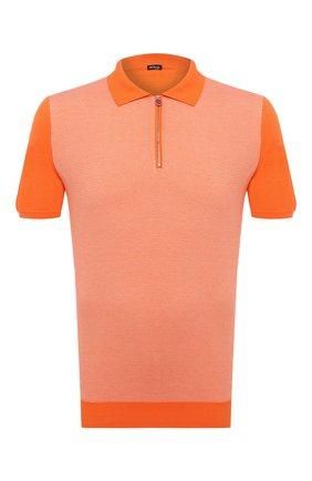 Мужское хлопковое поло KITON оранжевого цвета, арт. UK1253 | Фото 1