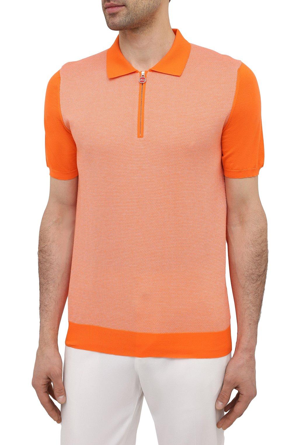 Мужское хлопковое поло KITON оранжевого цвета, арт. UK1253   Фото 3