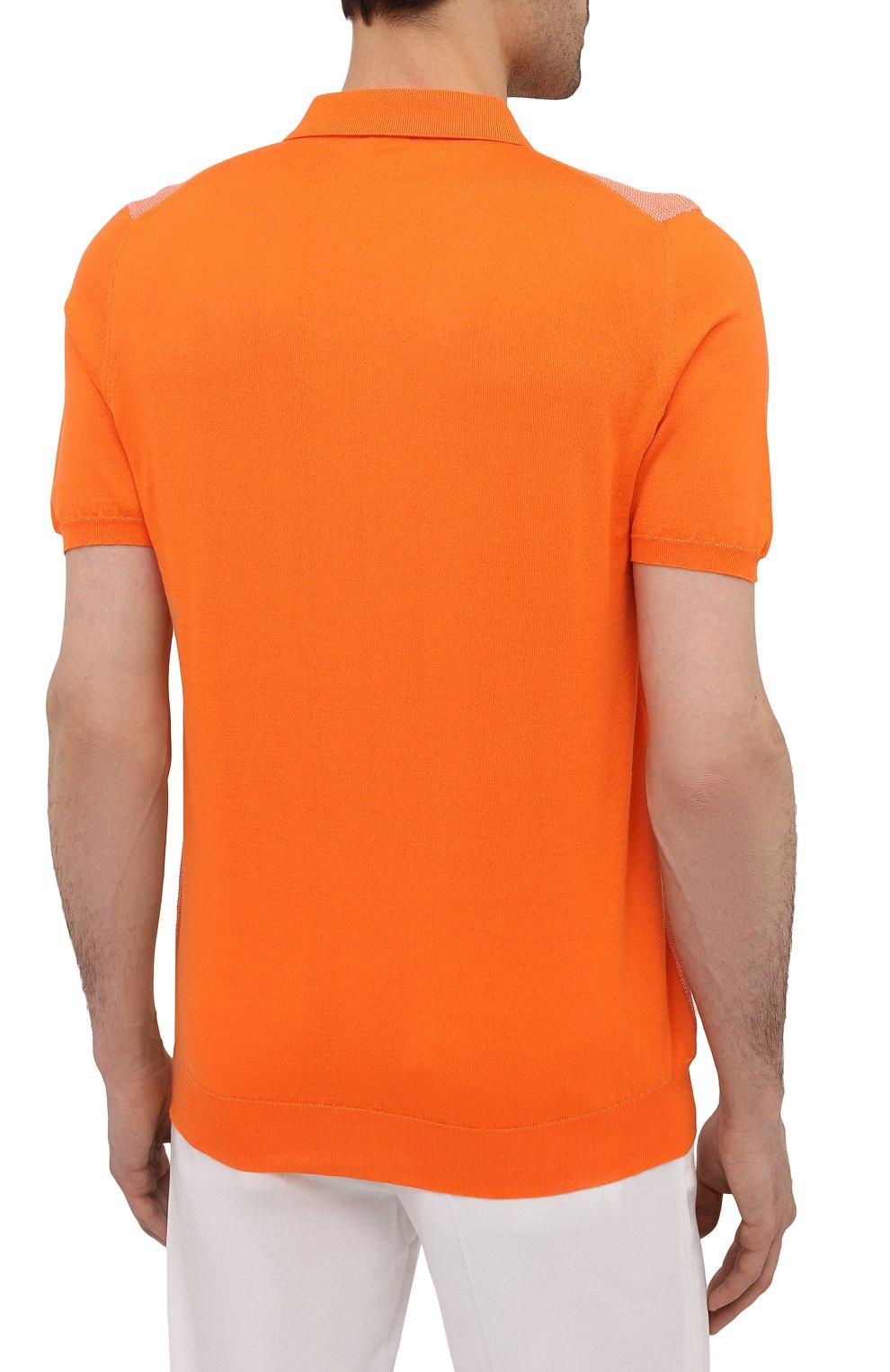 Мужское хлопковое поло KITON оранжевого цвета, арт. UK1253   Фото 4