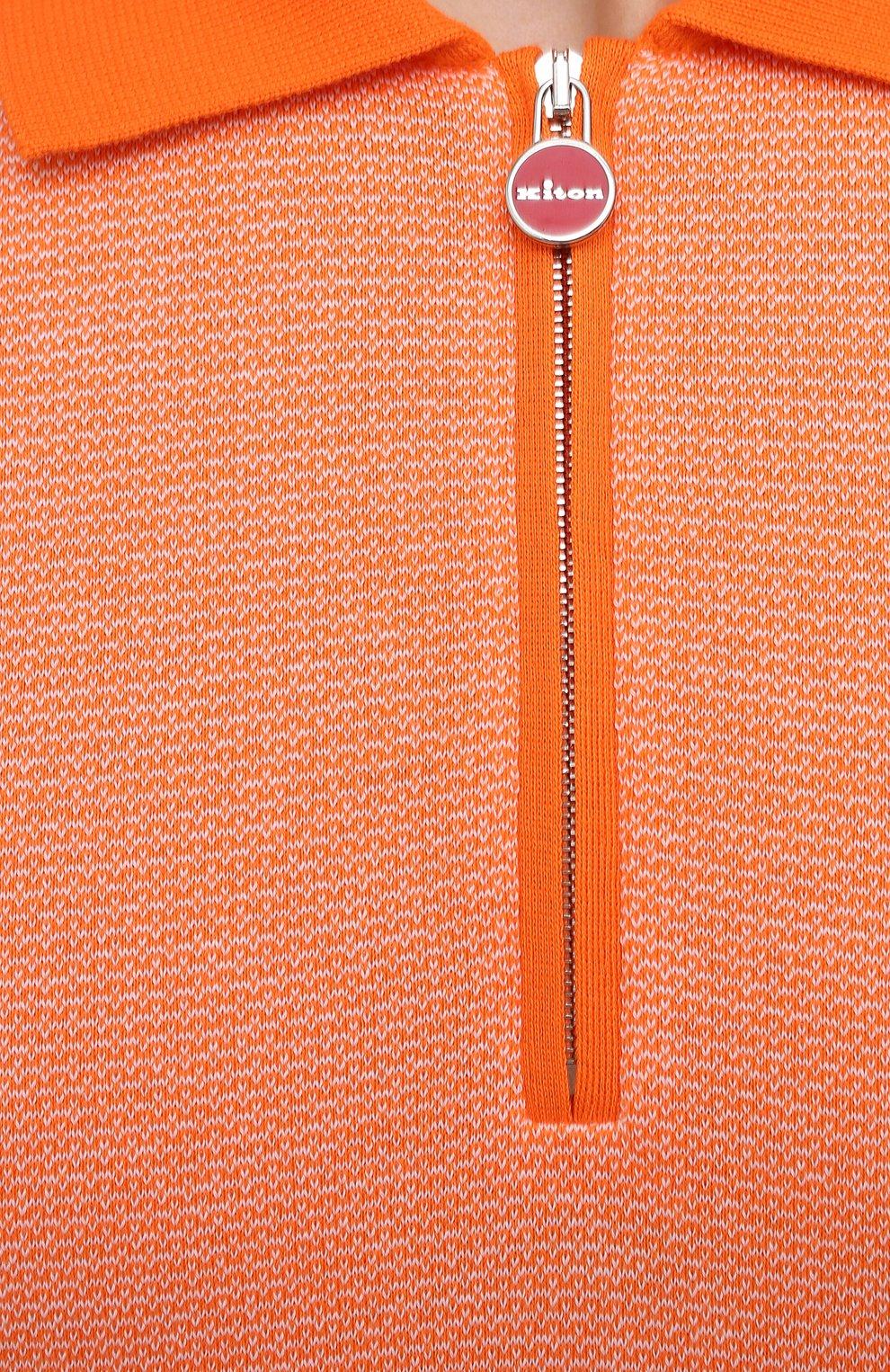 Мужское хлопковое поло KITON оранжевого цвета, арт. UK1253   Фото 5