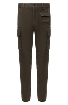 Мужские хлопковые брюки-карго DIESEL хаки цвета, арт. A01681/0IBAM | Фото 1