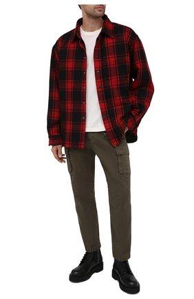 Мужские хлопковые брюки-карго DIESEL хаки цвета, арт. A01681/0IBAM | Фото 2