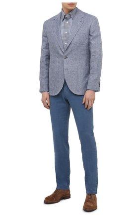 Мужская хлопковая рубашка BRIONI голубого цвета, арт. SCAY0L/P0022 | Фото 2